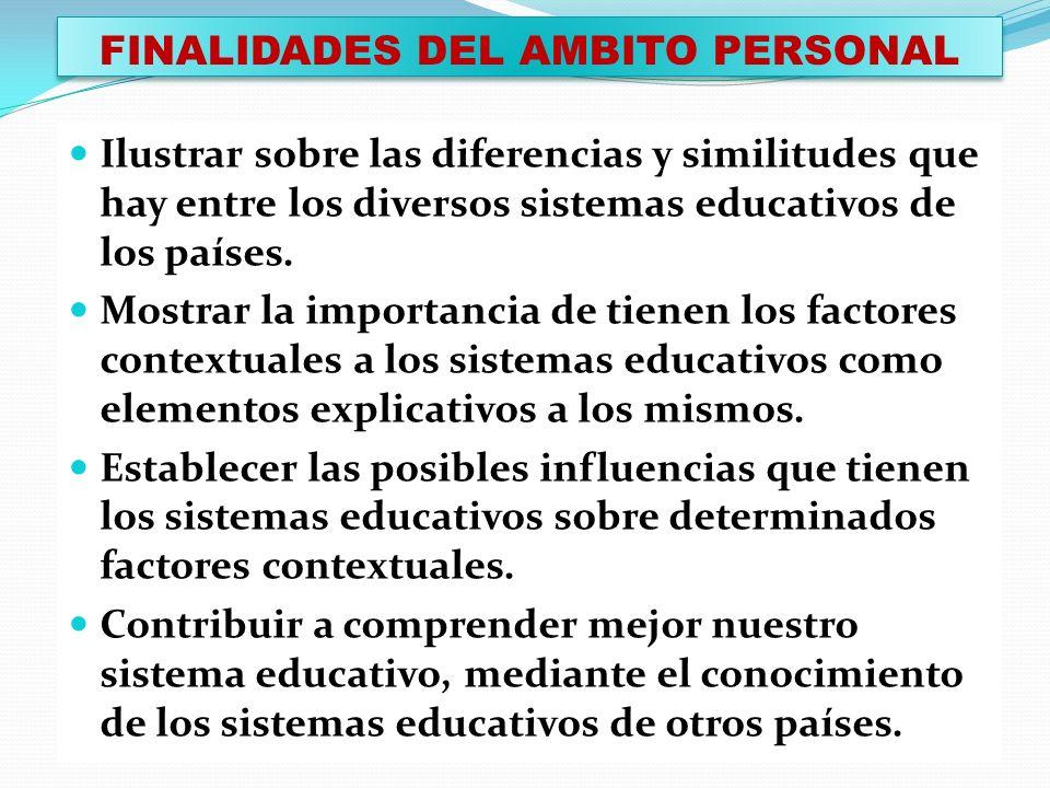 FINALIDADES DEL AMBITO PERSONAL