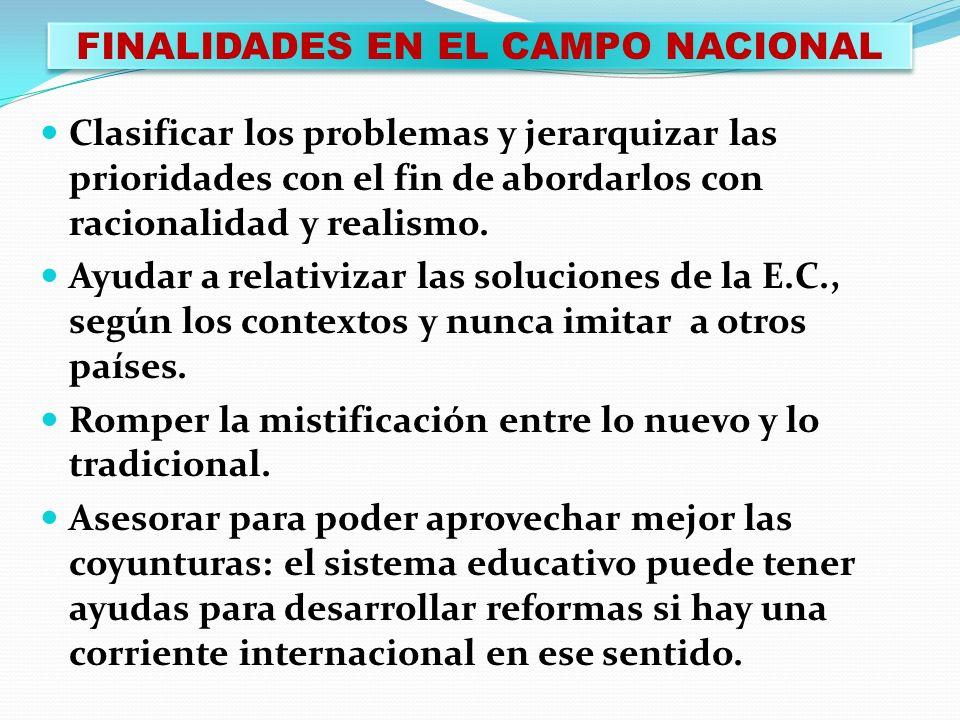FINALIDADES EN EL CAMPO NACIONAL
