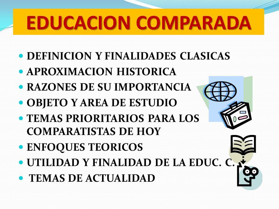 EDUCACION COMPARADA DEFINICION Y FINALIDADES CLASICAS