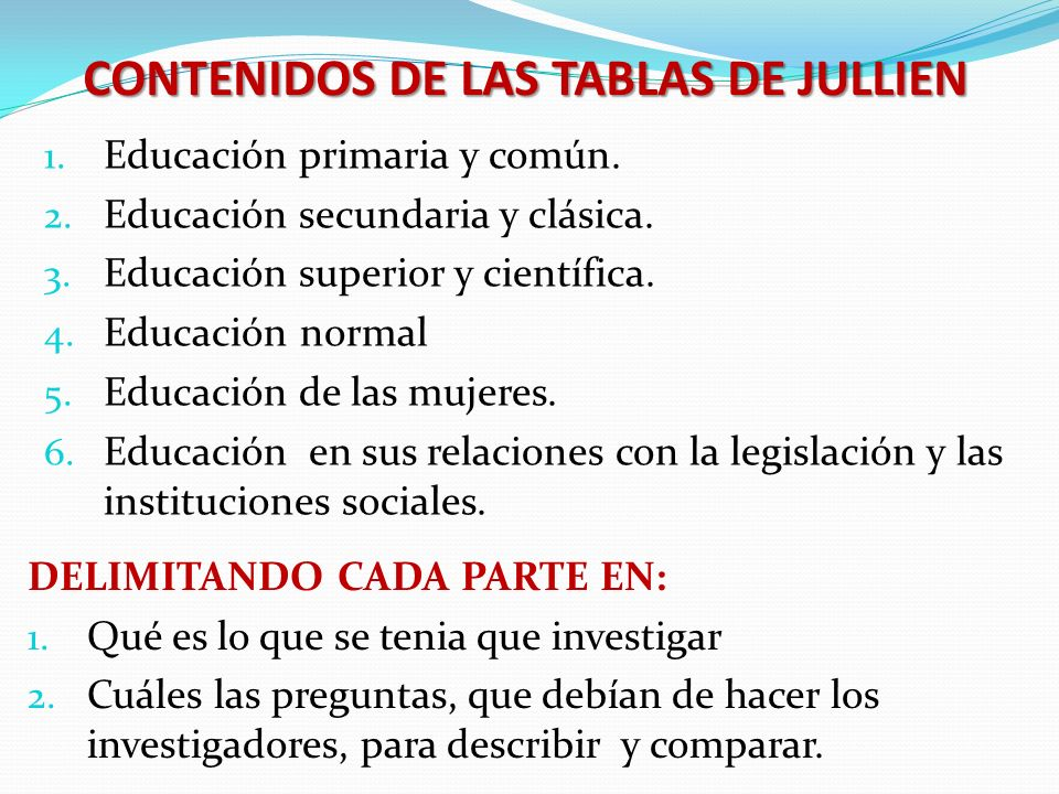 CONTENIDOS DE LAS TABLAS DE JULLIEN