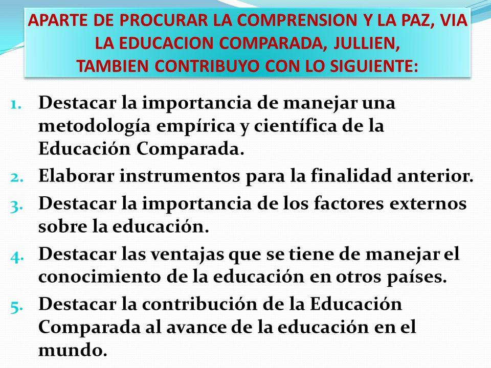 APARTE DE PROCURAR LA COMPRENSION Y LA PAZ, VIA LA EDUCACION COMPARADA, JULLIEN, TAMBIEN CONTRIBUYO CON LO SIGUIENTE: