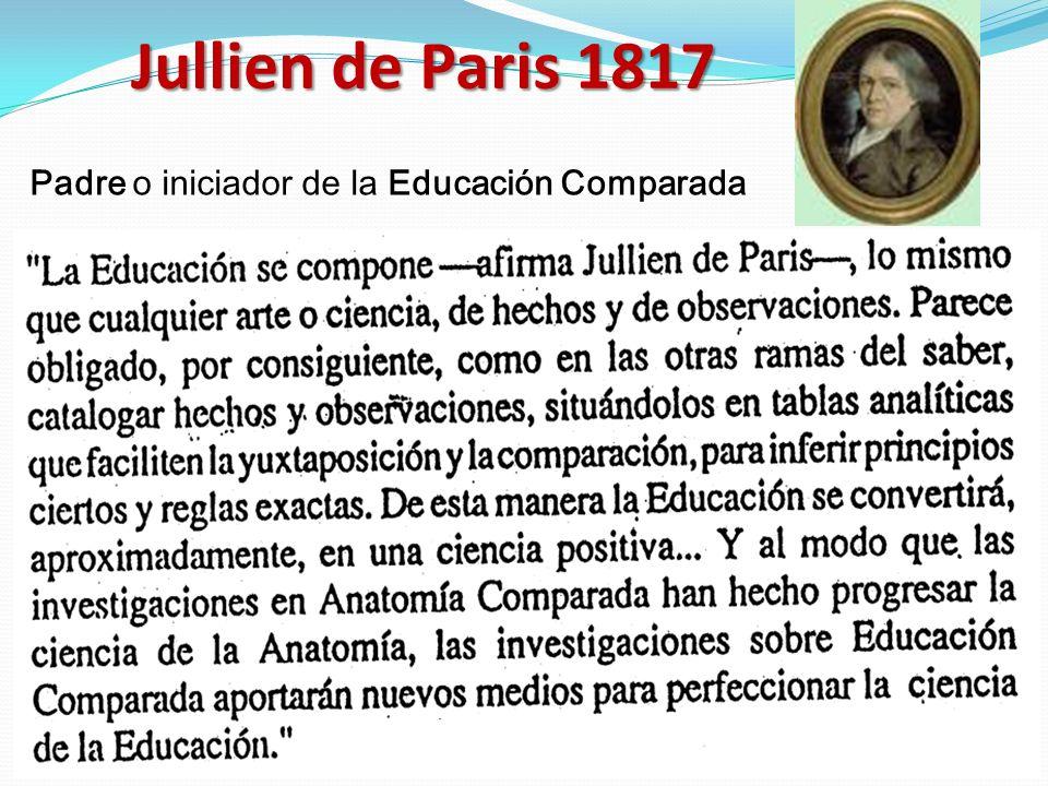 Jullien de Paris 1817 Padre o iniciador de la Educación Comparada