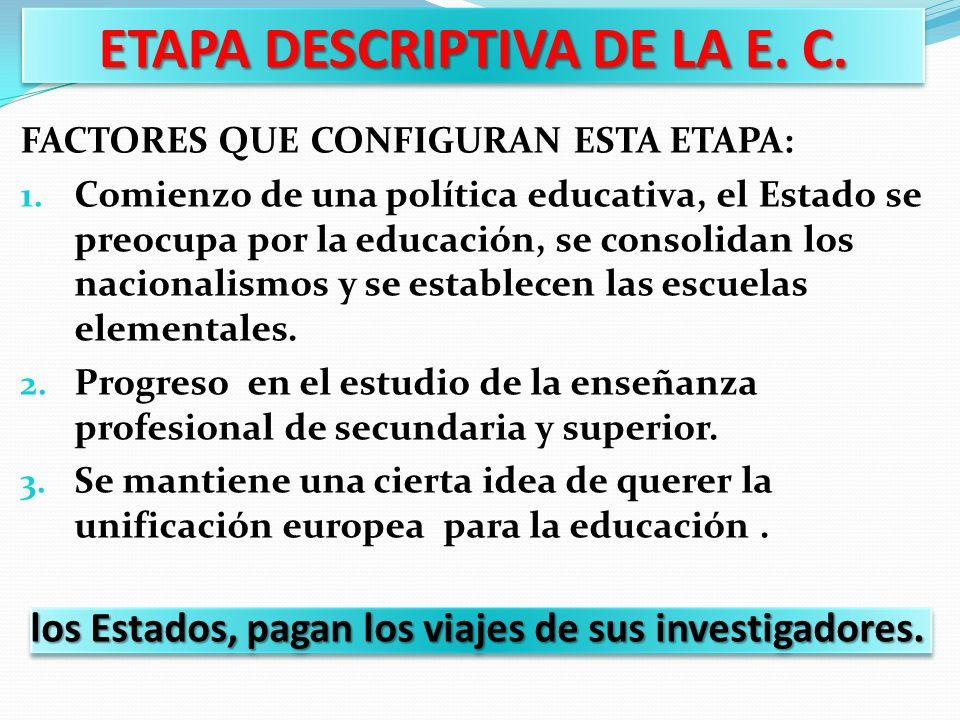 ETAPA DESCRIPTIVA DE LA E. C.