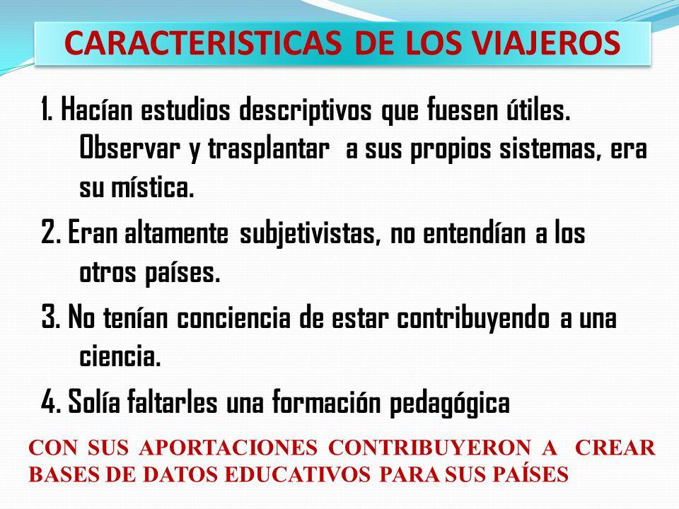 CARACTERISTICAS DE LOS VIAJEROS