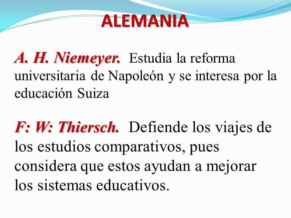 ALEMANIA A. H. Niemeyer. Estudia la reforma universitaria de Napoleón y se interesa por la educación Suiza.