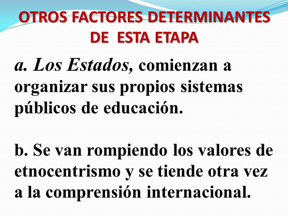 OTROS FACTORES DETERMINANTES DE ESTA ETAPA