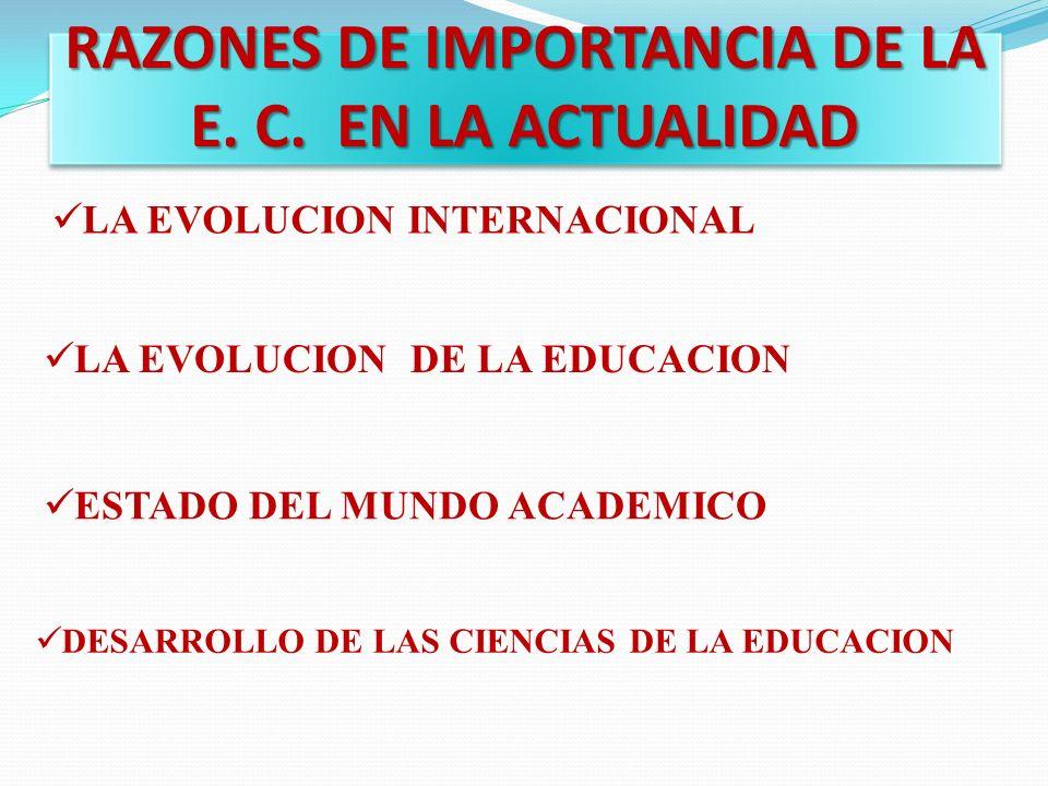 RAZONES DE IMPORTANCIA DE LA E. C. EN LA ACTUALIDAD