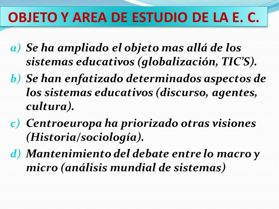 OBJETO Y AREA DE ESTUDIO DE LA E. C.