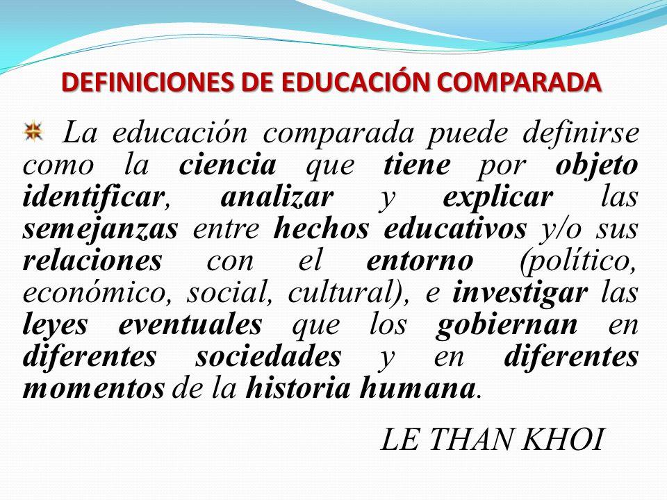 DEFINICIONES DE EDUCACIÓN COMPARADA