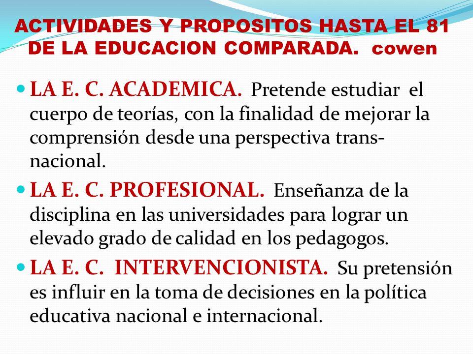 ACTIVIDADES Y PROPOSITOS HASTA EL 81 DE LA EDUCACION COMPARADA. cowen