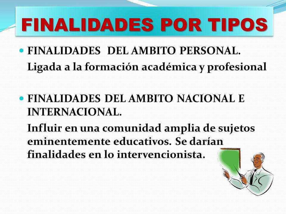 FINALIDADES POR TIPOS FINALIDADES DEL AMBITO PERSONAL.