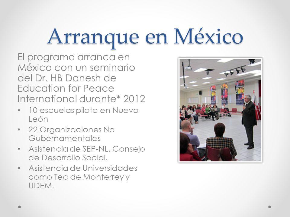 Arranque en México El programa arranca en México con un seminario del Dr. HB Danesh de Education for Peace International durante* 2012.