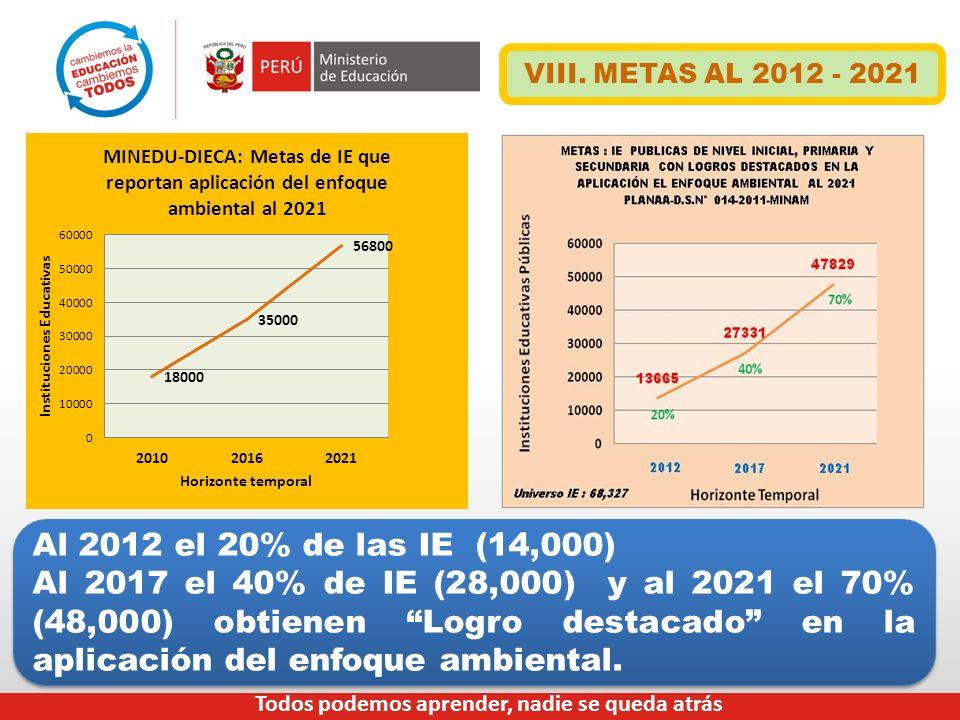 VIII. METAS AL 2012 - 2021 Al 2012 el 20% de las IE (14,000)