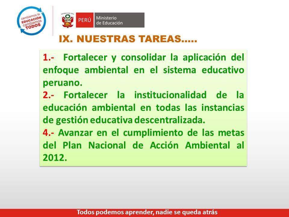 IX. NUESTRAS TAREAS….. 1.- Fortalecer y consolidar la aplicación del enfoque ambiental en el sistema educativo peruano.