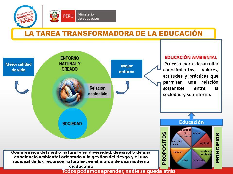 LA TAREA TRANSFORMADORA DE LA EDUCACIÓN ENTORNO NATURAL Y CREADO