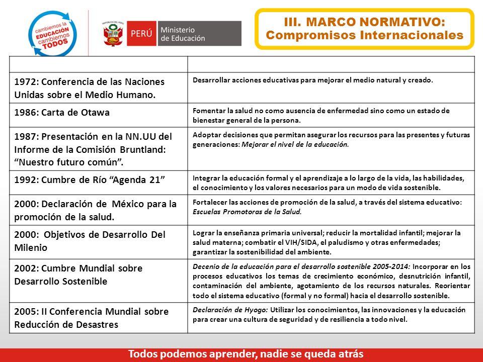 III. MARCO NORMATIVO: Compromisos Internacionales