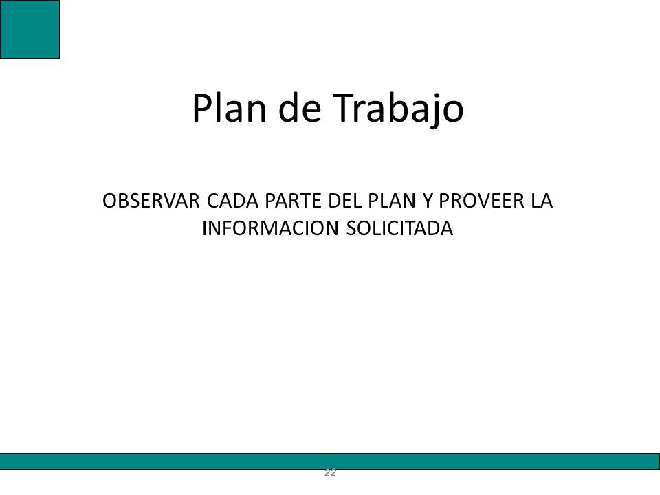 Plan de Trabajo OBSERVAR CADA PARTE DEL PLAN Y PROVEER LA INFORMACION SOLICITADA