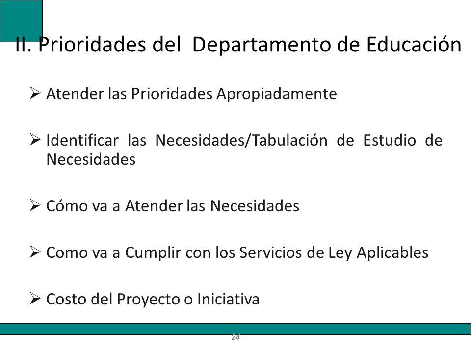 II. Prioridades del Departamento de Educación