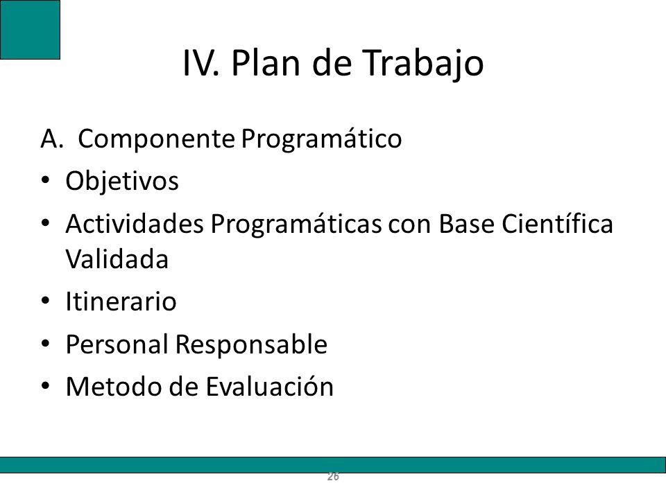 IV. Plan de Trabajo Componente Programático Objetivos