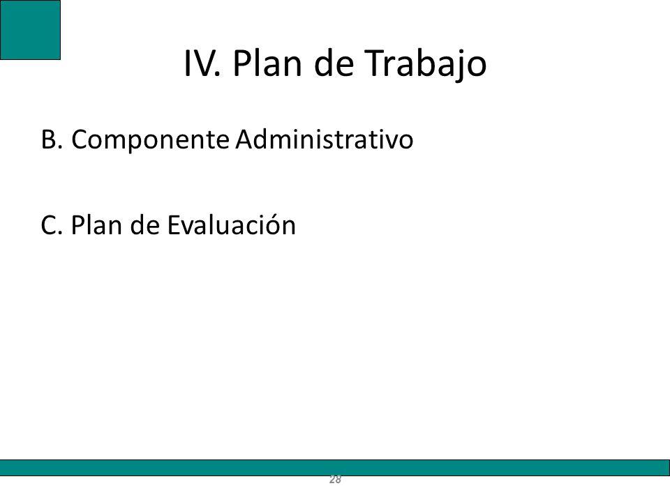 IV. Plan de Trabajo B. Componente Administrativo C. Plan de Evaluación