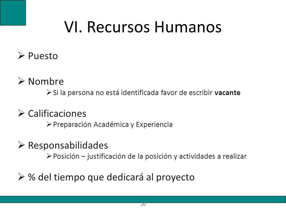 VI. Recursos Humanos Puesto Nombre Calificaciones Responsabilidades