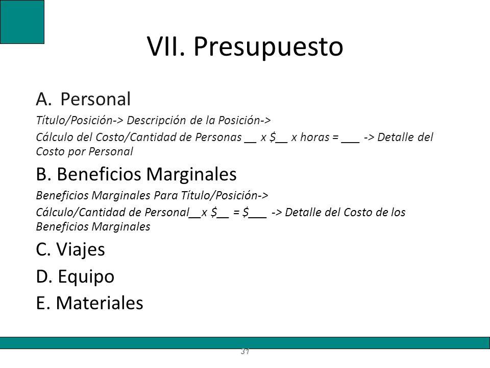 VII. Presupuesto Personal B. Beneficios Marginales C. Viajes D. Equipo