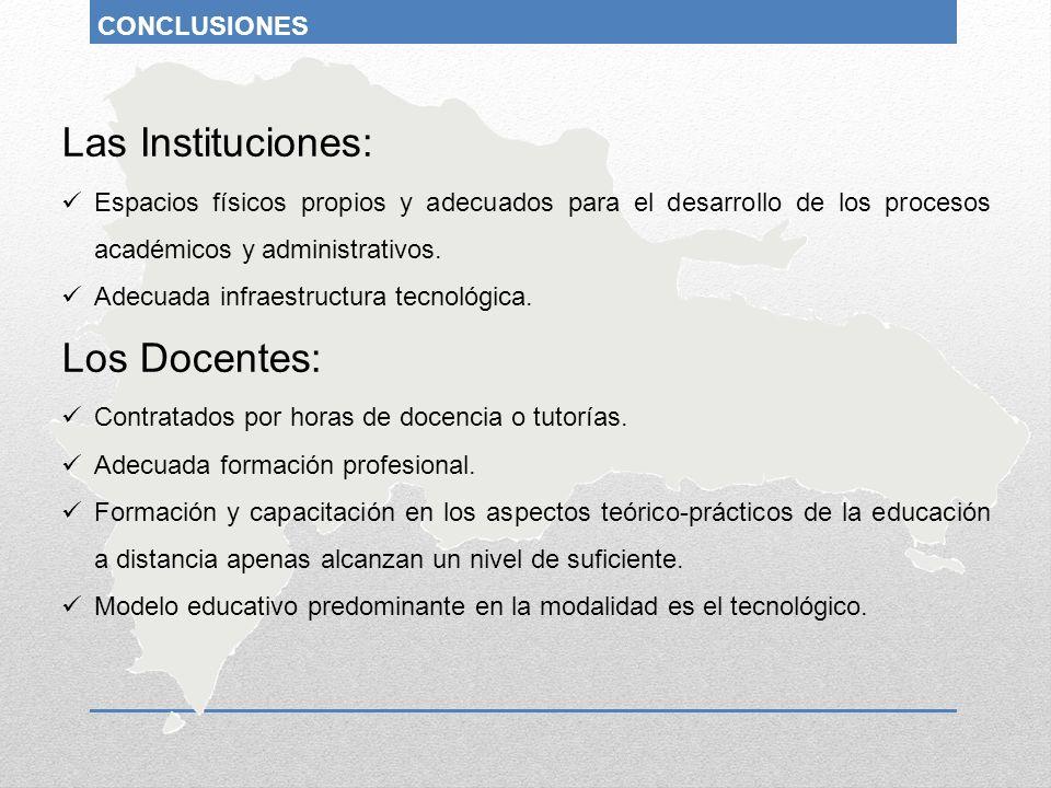 Las Instituciones: Los Docentes: CONCLUSIONES