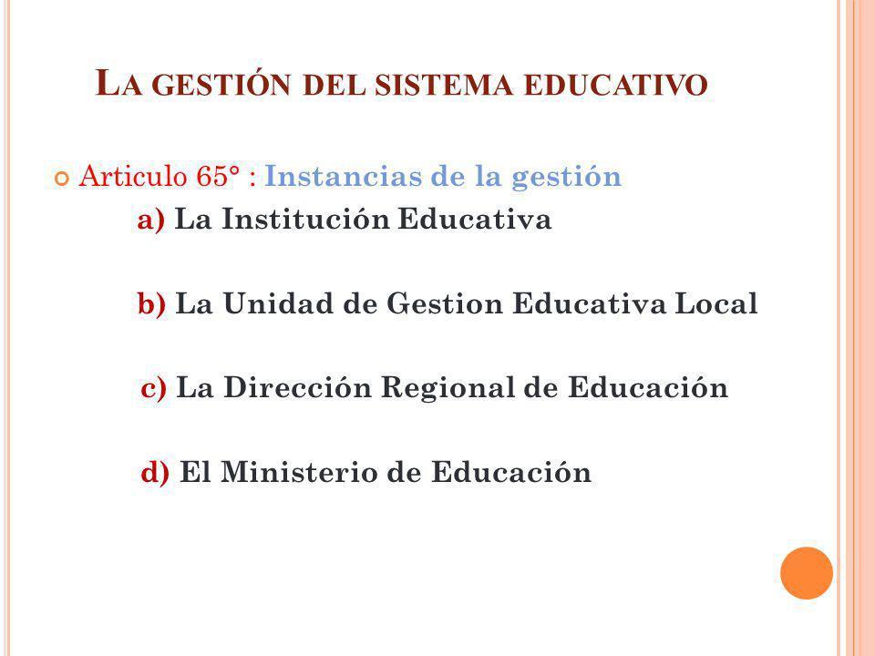 La gestión del sistema educativo