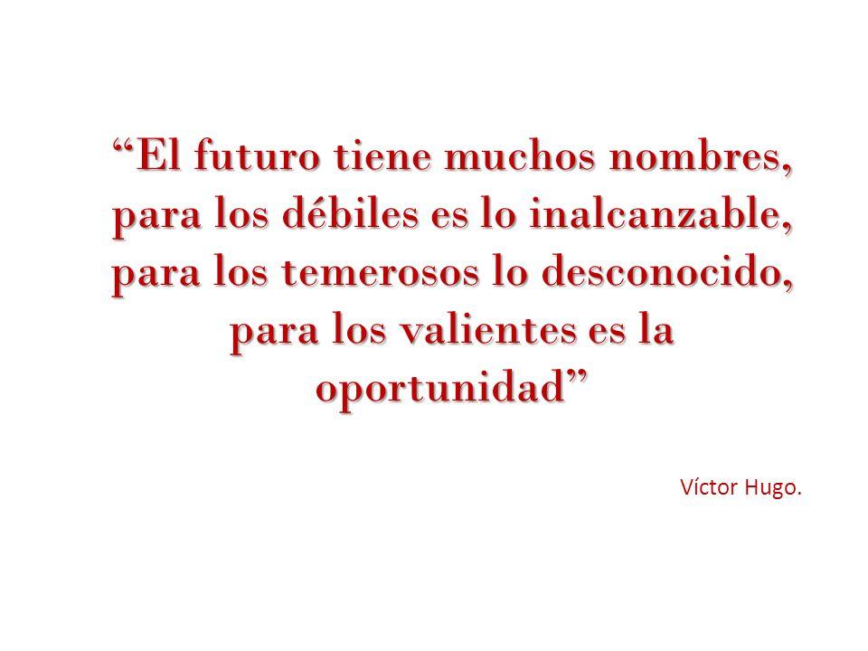 El futuro tiene muchos nombres, para los débiles es lo inalcanzable, para los temerosos lo desconocido, para los valientes es la oportunidad