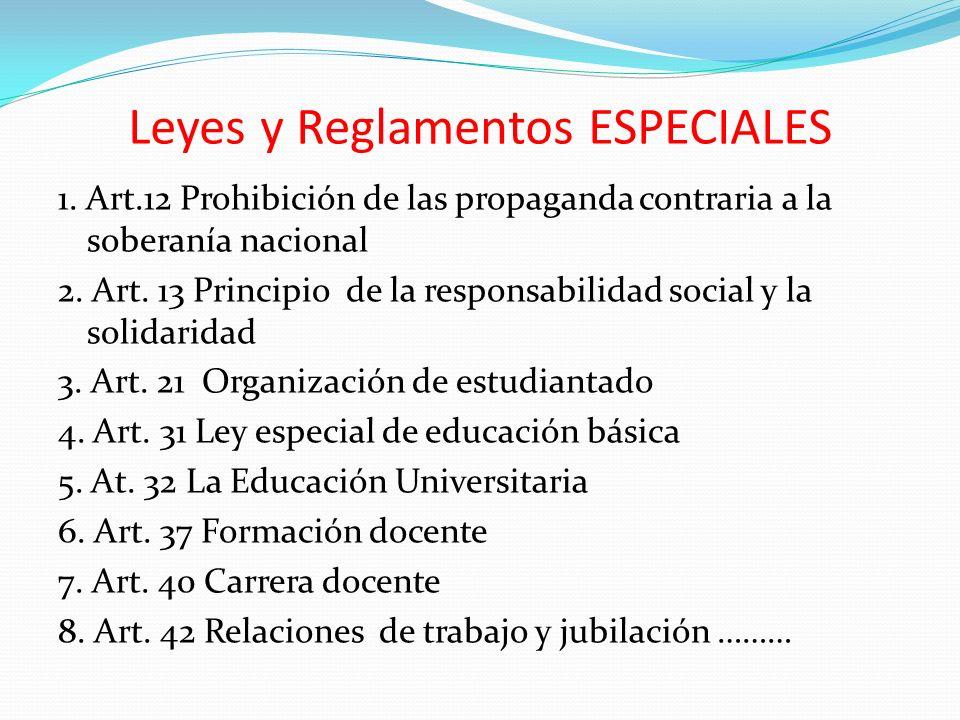 Leyes y Reglamentos ESPECIALES