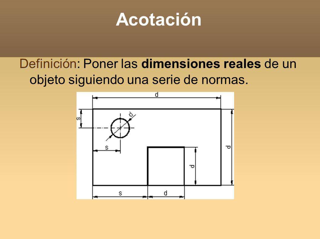 Acotación Definición: Poner las dimensiones reales de un objeto siguiendo una serie de normas.