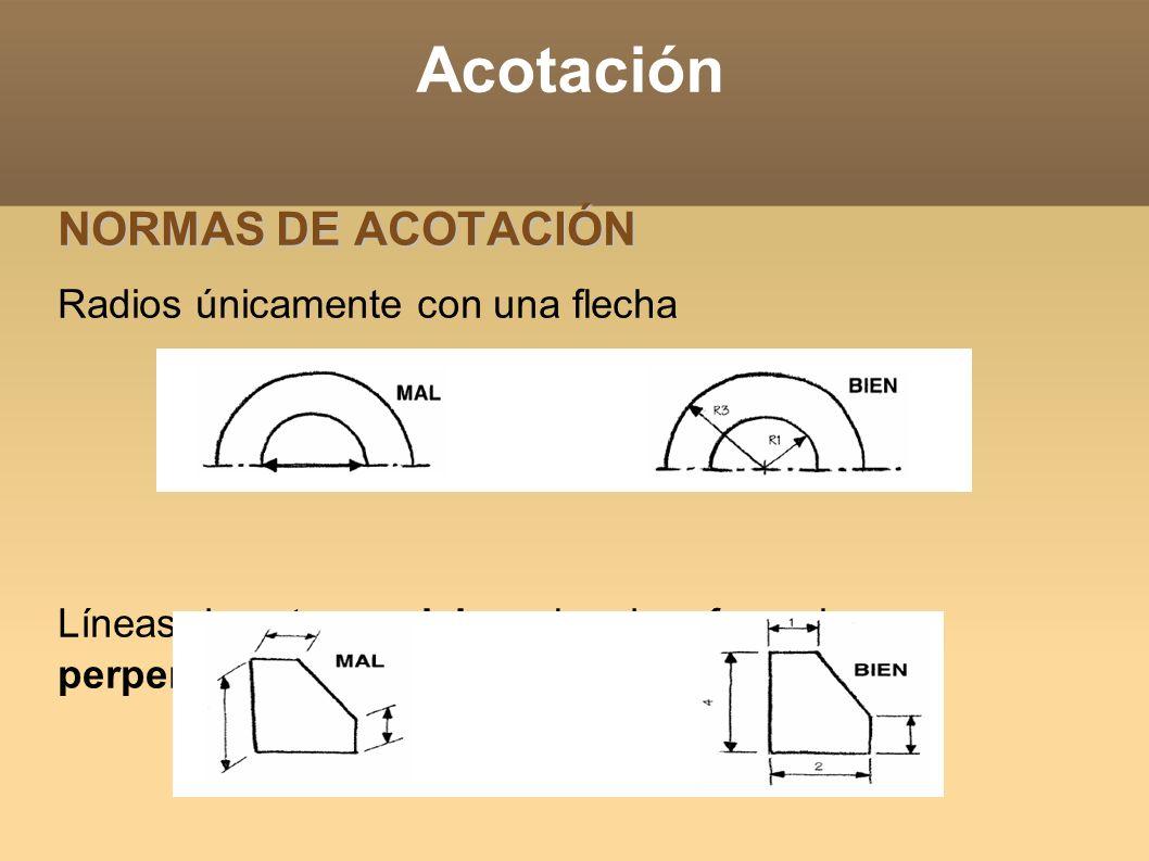 Acotación NORMAS DE ACOTACIÓN Radios únicamente con una flecha