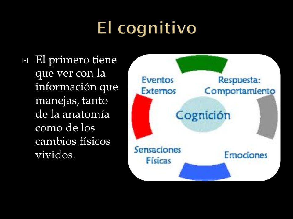 El cognitivo El primero tiene que ver con la información que manejas, tanto de la anatomía como de los cambios físicos vividos.