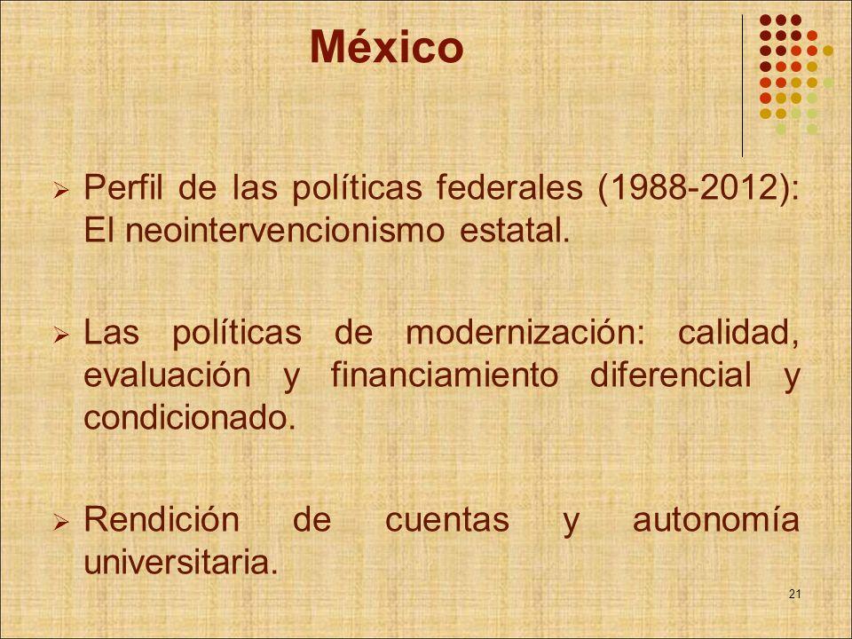 México Perfil de las políticas federales (1988-2012): El neointervencionismo estatal.