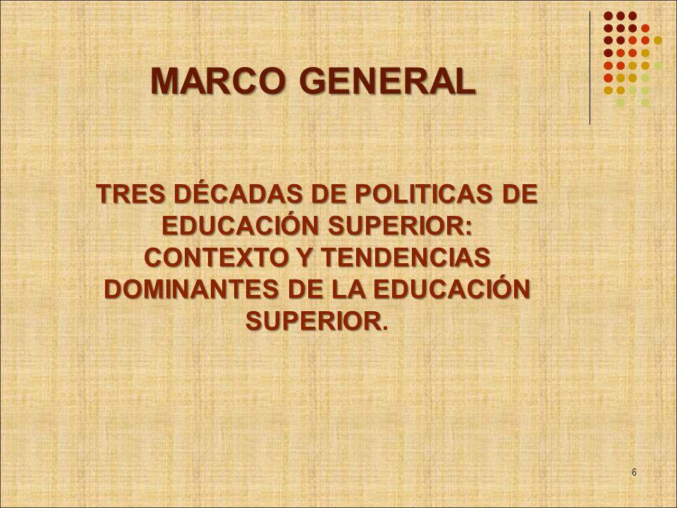 MARCO GENERAL TRES DÉCADAS DE POLITICAS DE EDUCACIÓN SUPERIOR: CONTEXTO Y TENDENCIAS DOMINANTES DE LA EDUCACIÓN SUPERIOR.