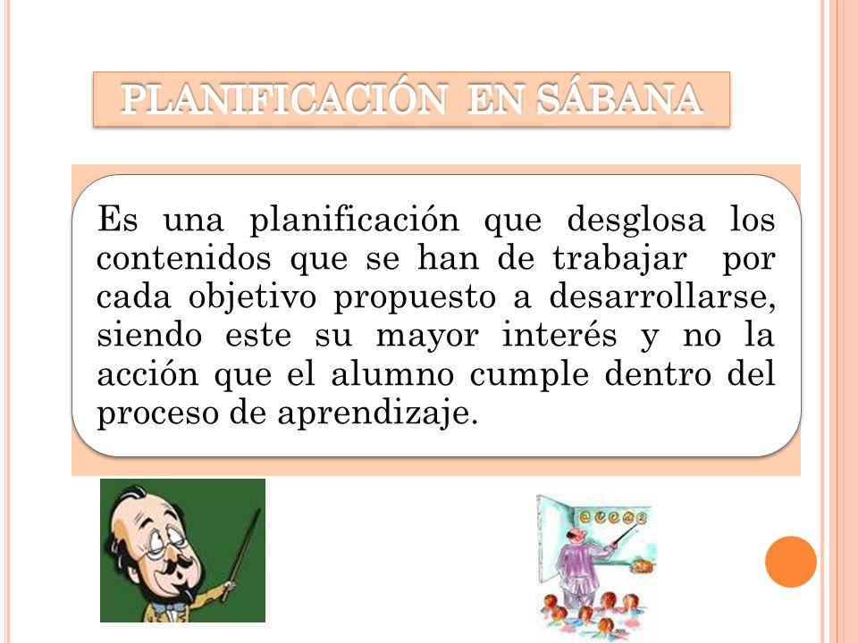 PLANIFICACIÓN EN SÁBANA