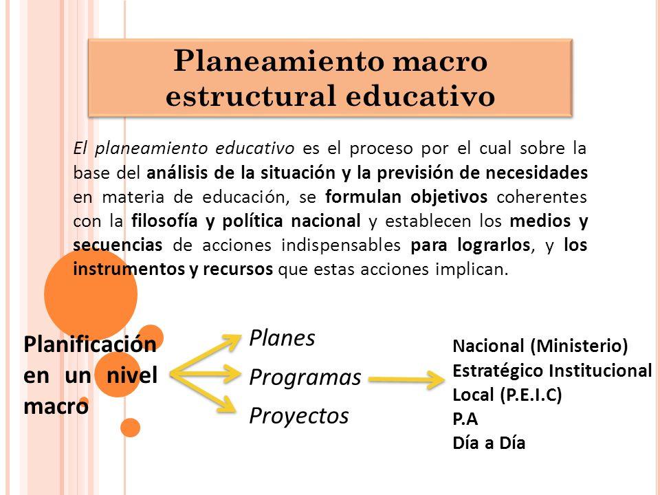 Planeamiento macro estructural educativo