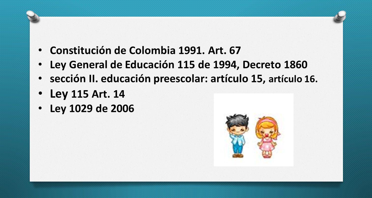 Ley 115 Art. 14 Constitución de Colombia 1991. Art. 67