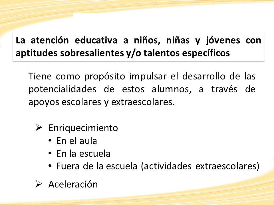 La atención educativa a niños, niñas y jóvenes con aptitudes sobresalientes y/o talentos específicos