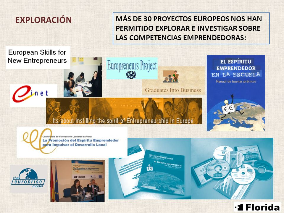 EXPLORACIÓN MÁS DE 30 PROYECTOS EUROPEOS NOS HAN PERMITIDO EXPLORAR E INVESTIGAR SOBRE LAS COMPETENCIAS EMPRENDEDORAS: