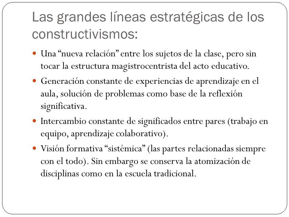 Las grandes líneas estratégicas de los constructivismos: