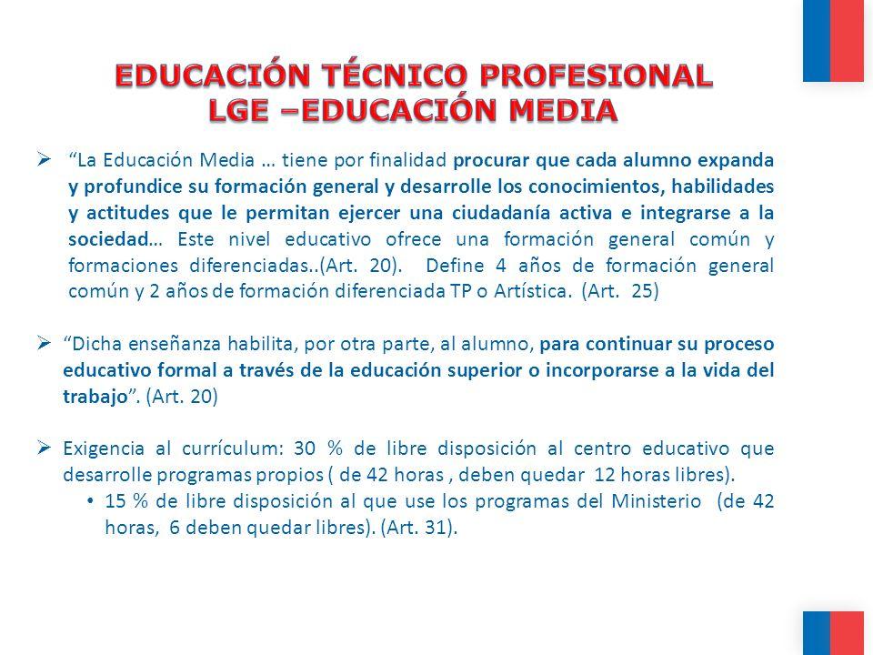 EDUCACIÓN TÉCNICO PROFESIONAL LGE –EDUCACIÓN MEDIA