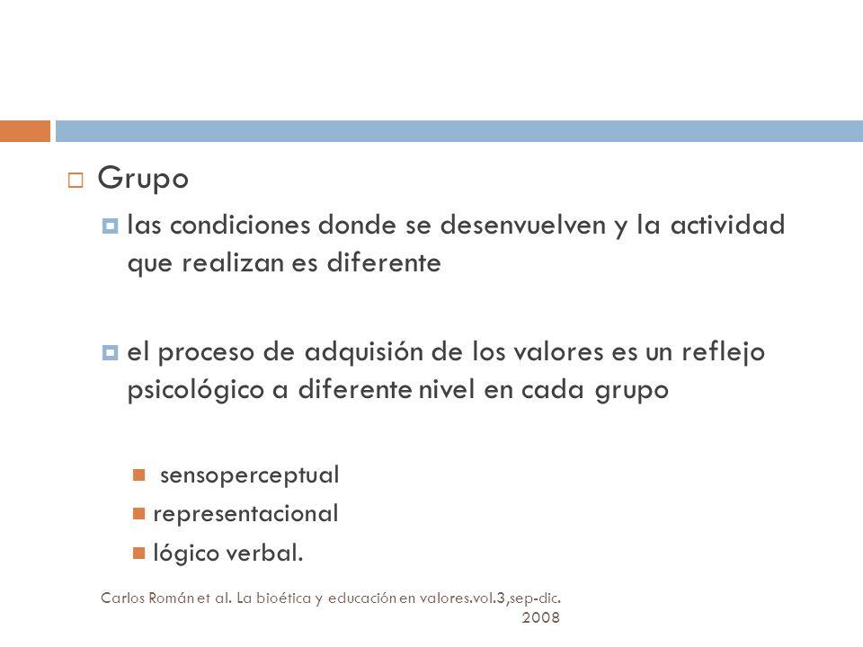 Grupo las condiciones donde se desenvuelven y la actividad que realizan es diferente.