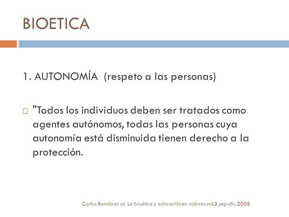 BIOETICA 1. AUTONOMÍA (respeto a las personas)