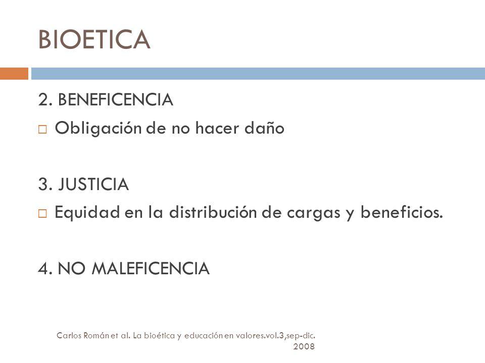 BIOETICA 2. BENEFICENCIA Obligación de no hacer daño 3. JUSTICIA