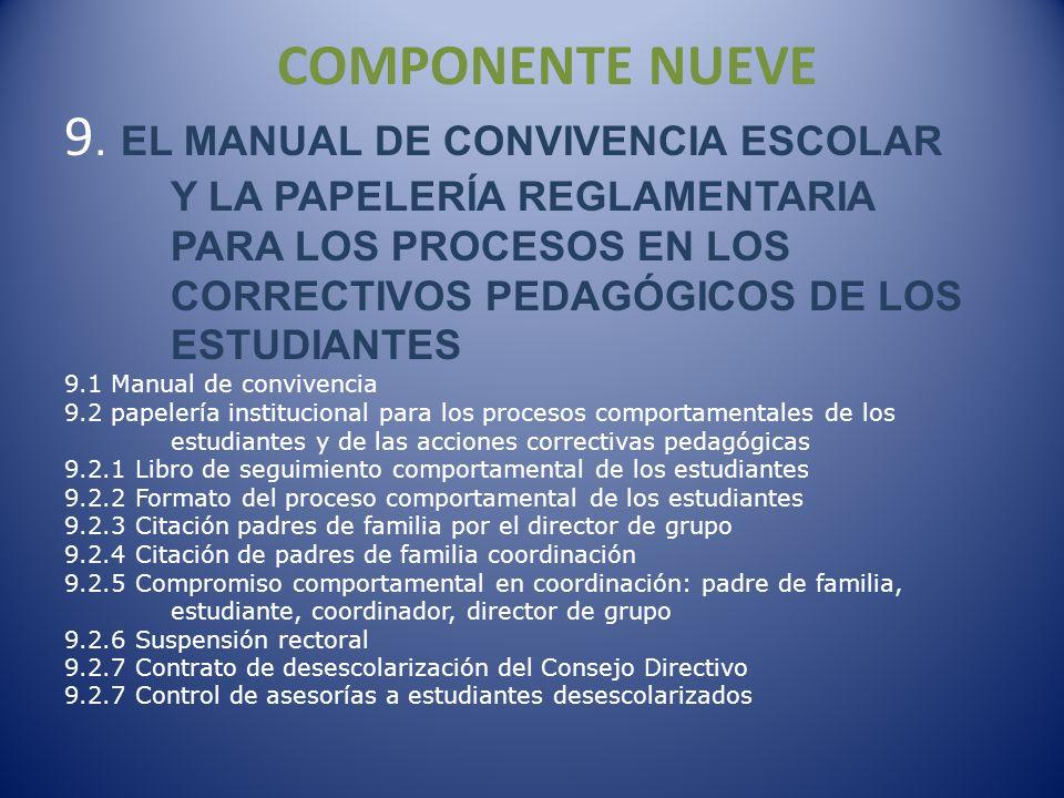 COMPONENTE NUEVE 9. EL MANUAL DE CONVIVENCIA ESCOLAR