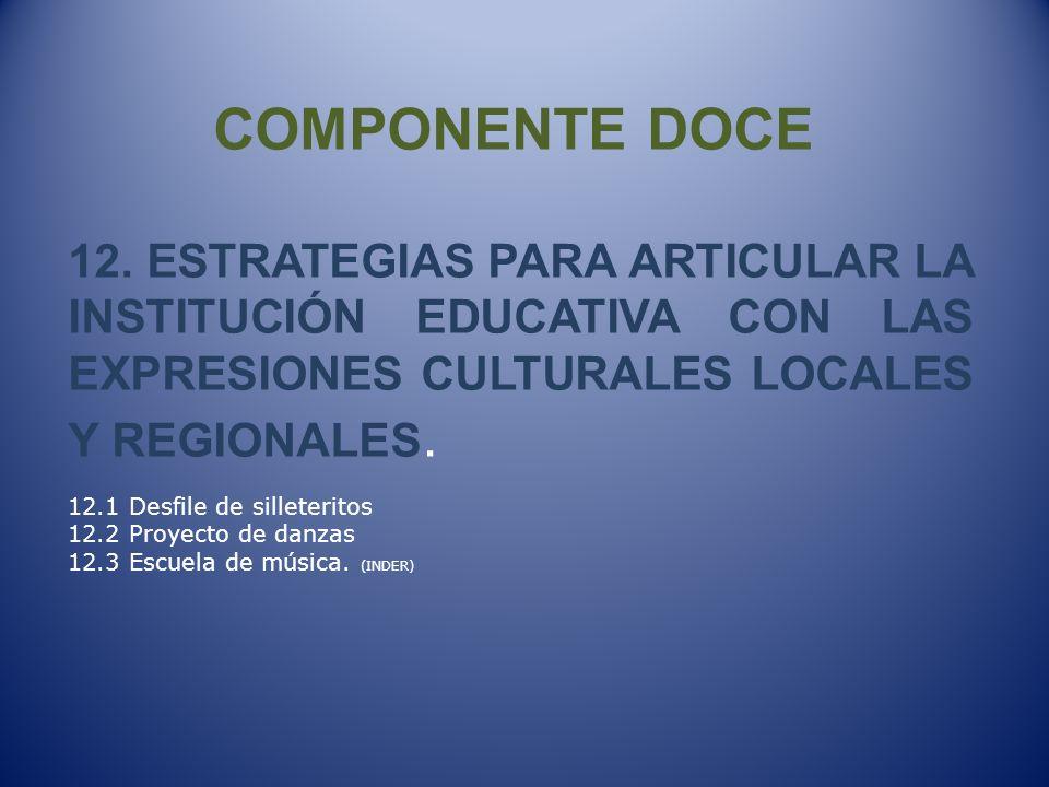 COMPONENTE DOCE 12. ESTRATEGIAS PARA ARTICULAR LA INSTITUCIÓN EDUCATIVA CON LAS EXPRESIONES CULTURALES LOCALES Y REGIONALES.