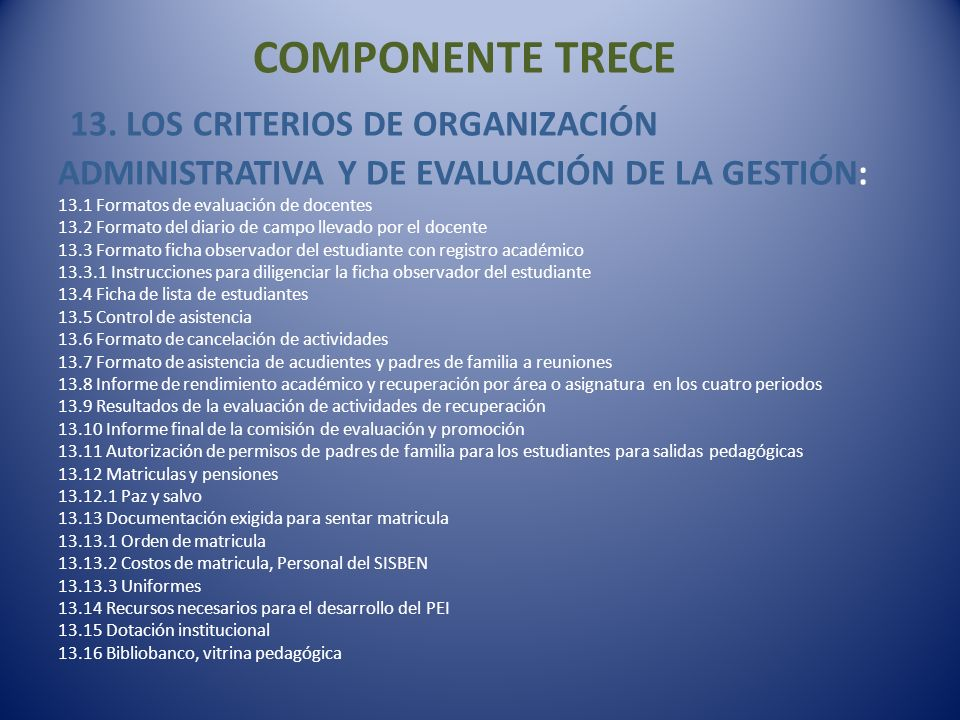 COMPONENTE TRECE 13.