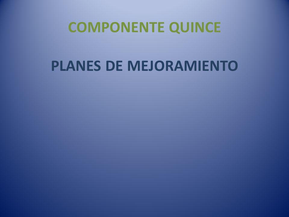 COMPONENTE QUINCE PLANES DE MEJORAMIENTO