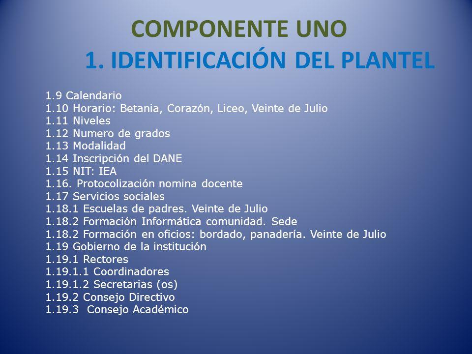COMPONENTE UNO 1. IDENTIFICACIÓN DEL PLANTEL